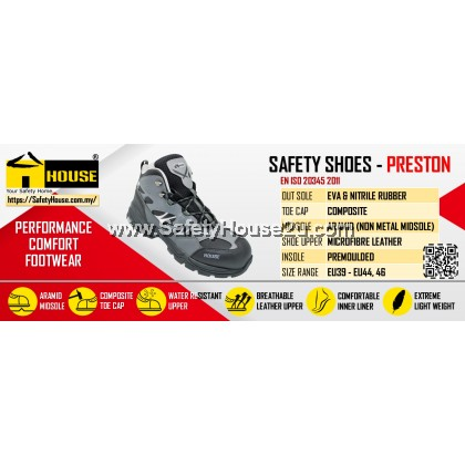 HOUSE PRESTON SAFETY SHOES C/W COMPOSITE TOE CAP & ARAMID MID SOLE