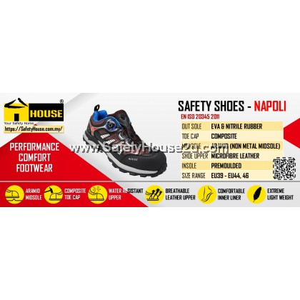 HOUSE NAPOLI SAFETY SHOES C/W COMPOSITE TOE CAP & ARAMID MID SOLE