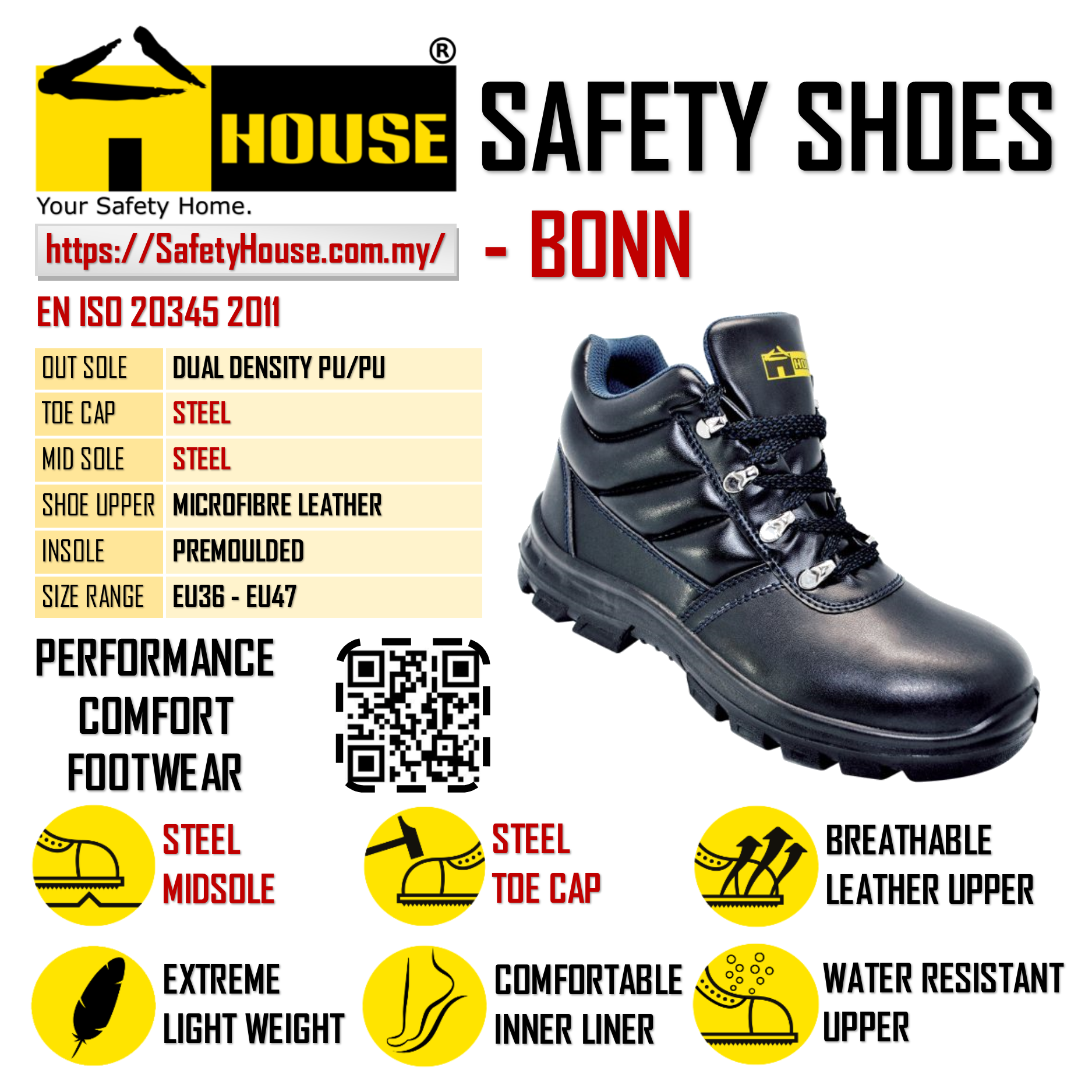 HOUSE BONN SAFETY SHOES C/W STEEL TOE CAP & STEEL MID SOLE