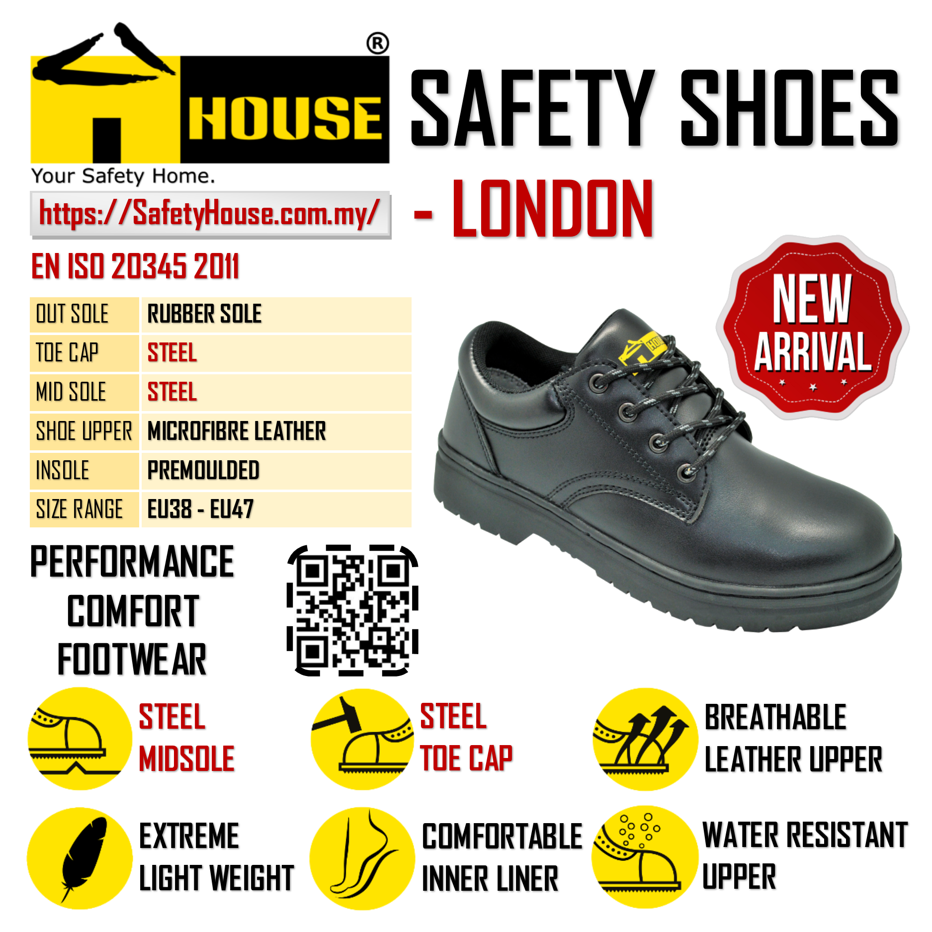HOUSE LONDON SAFETY SHOES C/W STEEL TOE CAP & STEEL MID SOLE